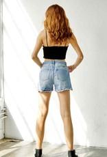 HUSH High rise button fly denim shorts