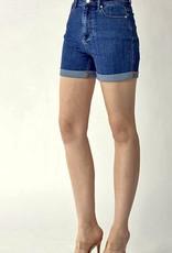 HUSH High rise rolled up denim shorts