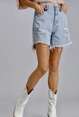 HUSH High rise distressed bermuda length shorts