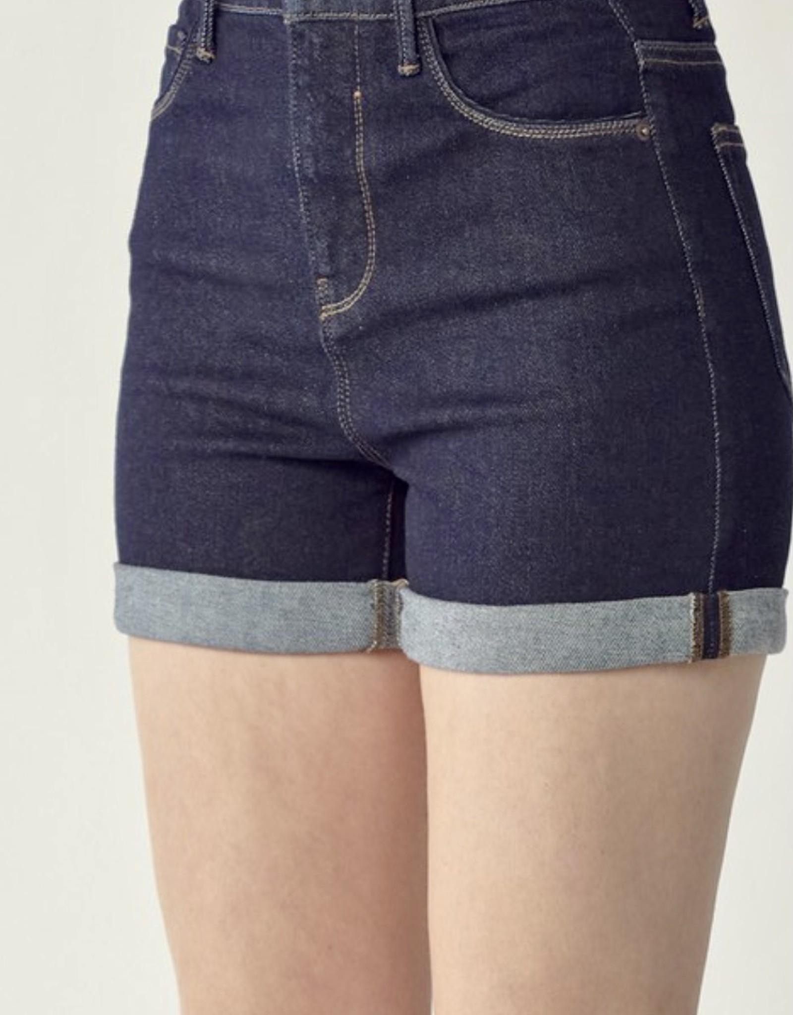 HUSH High rise roll up denim shorts