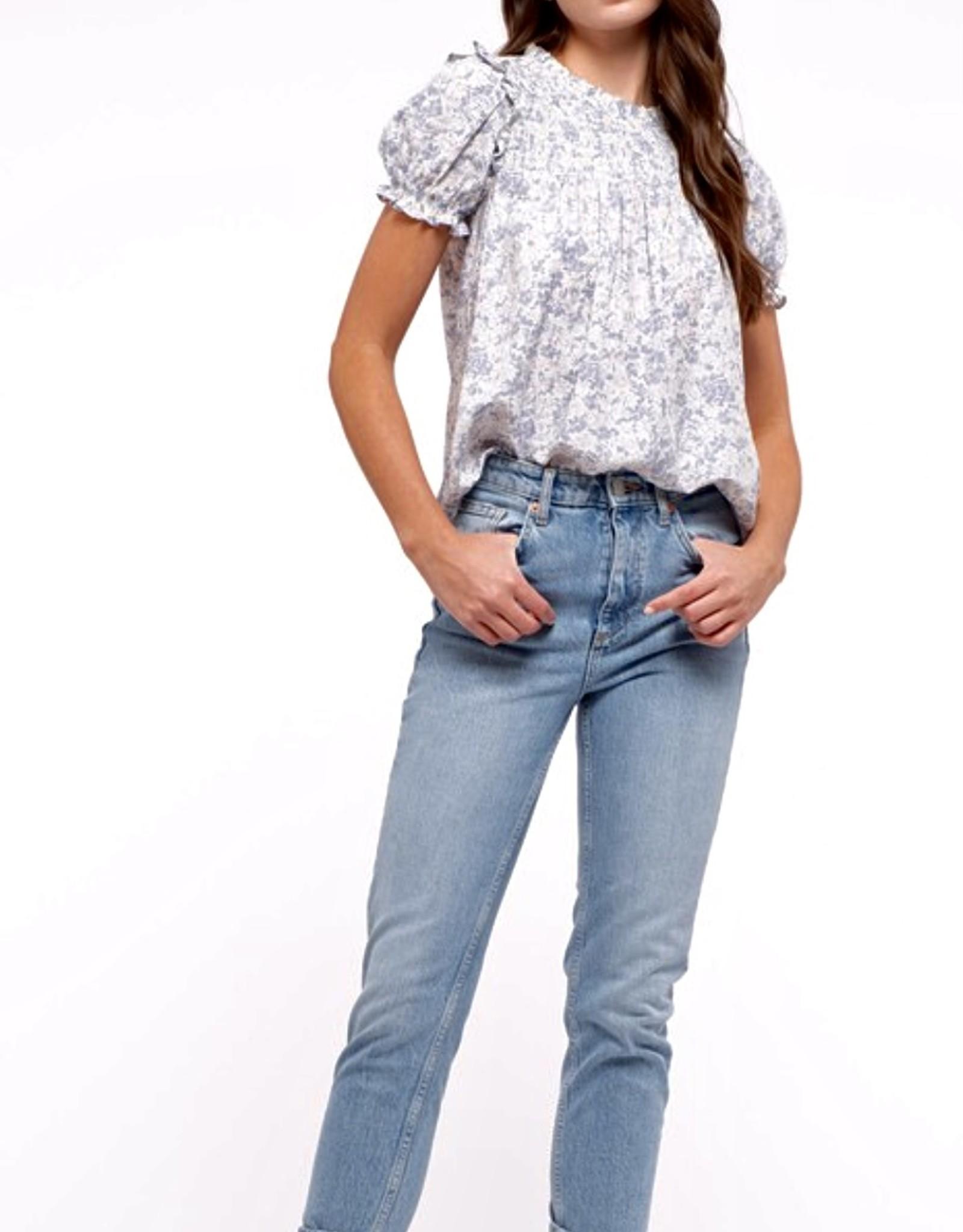 HUSH Mock neck ruffle trim floral print blouse