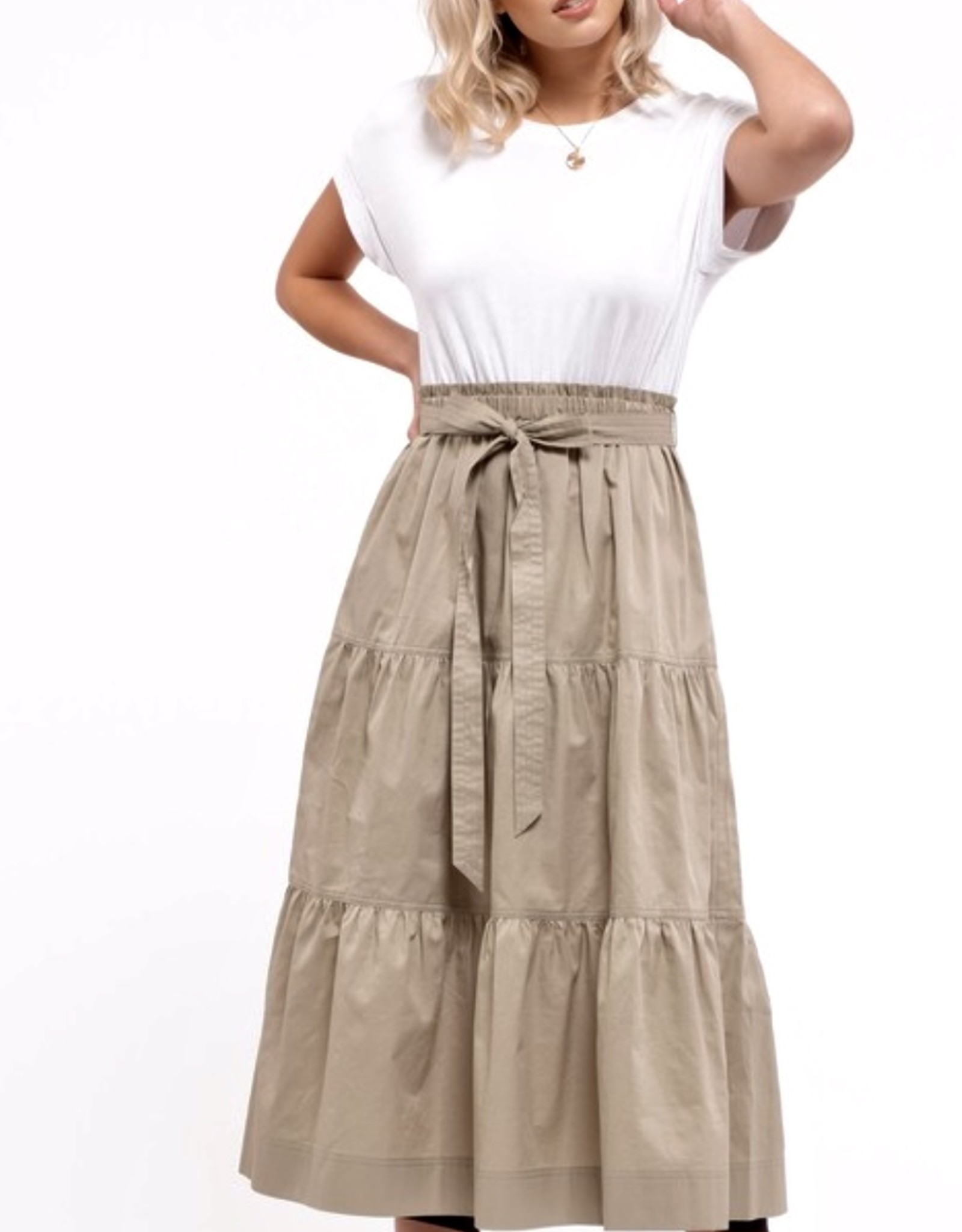 HUSH Short sleeve, tiered skirt belted dress