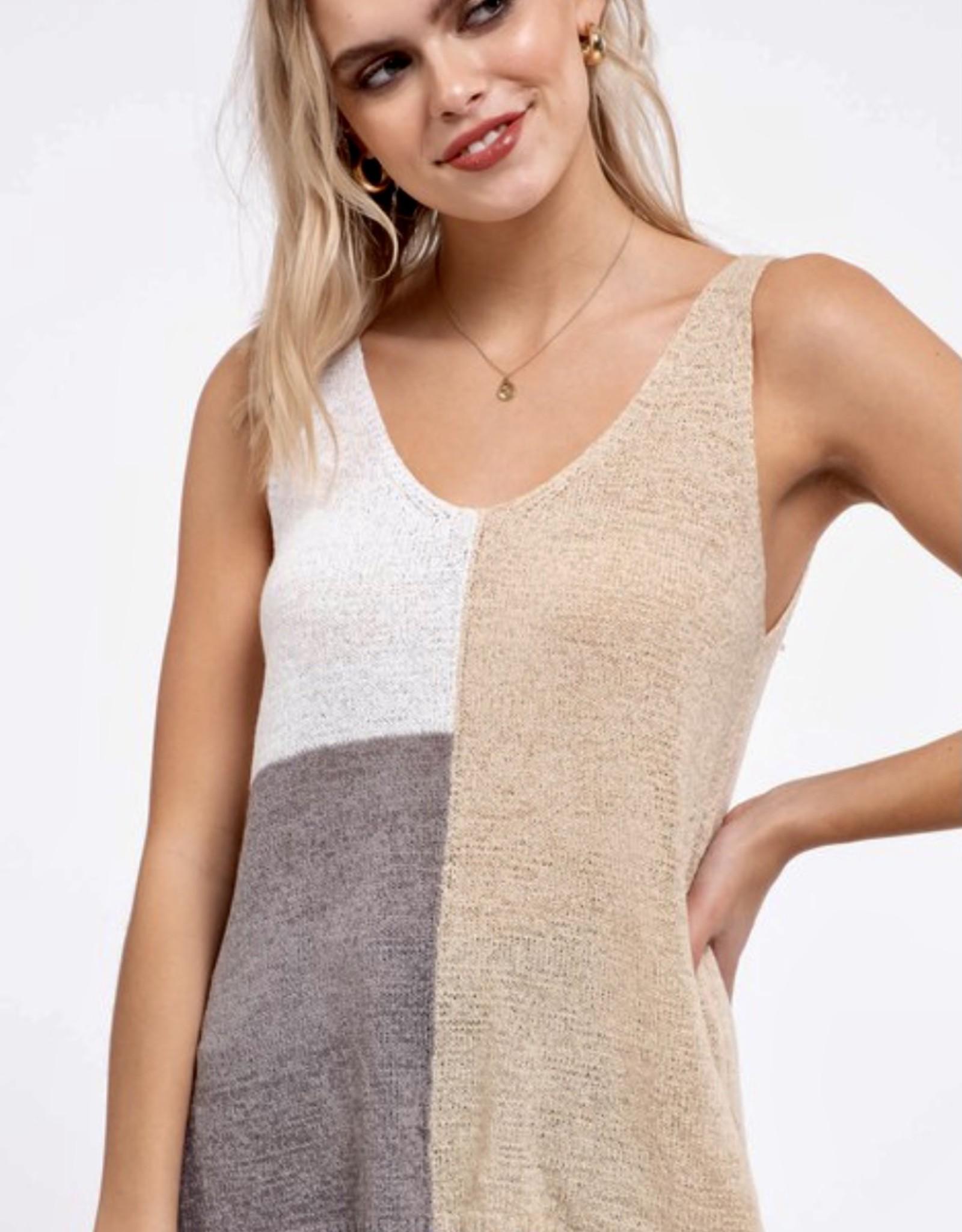 HUSH Knit v neck colour block tank