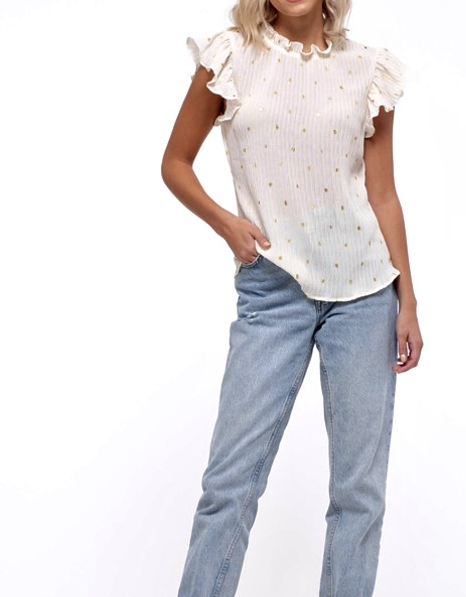 HUSH Mock neck dot print flutter slv blouse