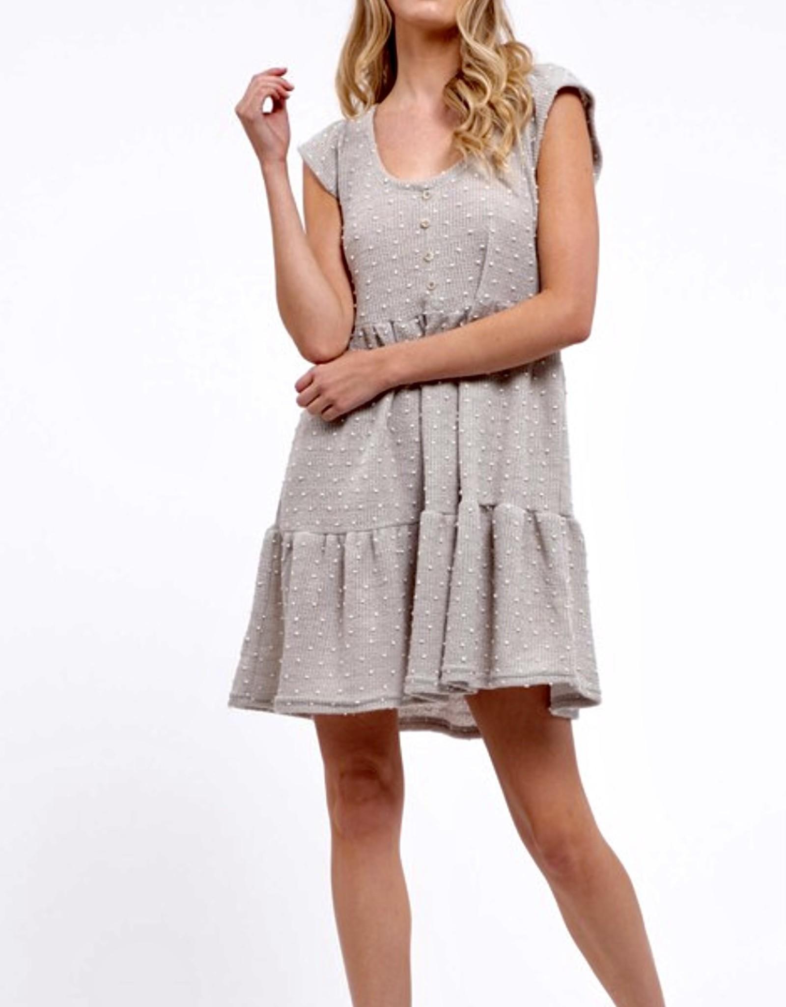 HUSH Textured dot fabric tiered dress