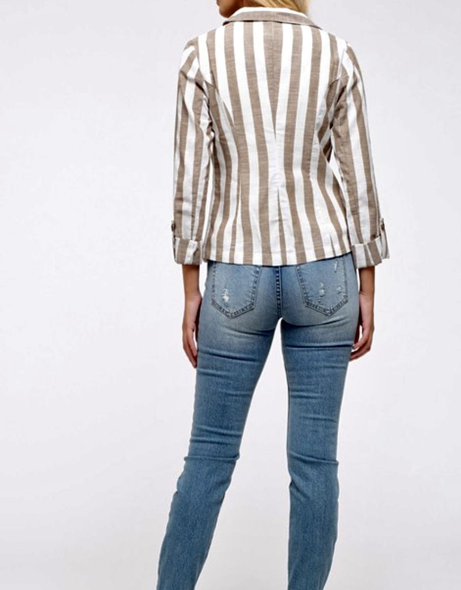 HUSH Woven striped long sleeve blazer