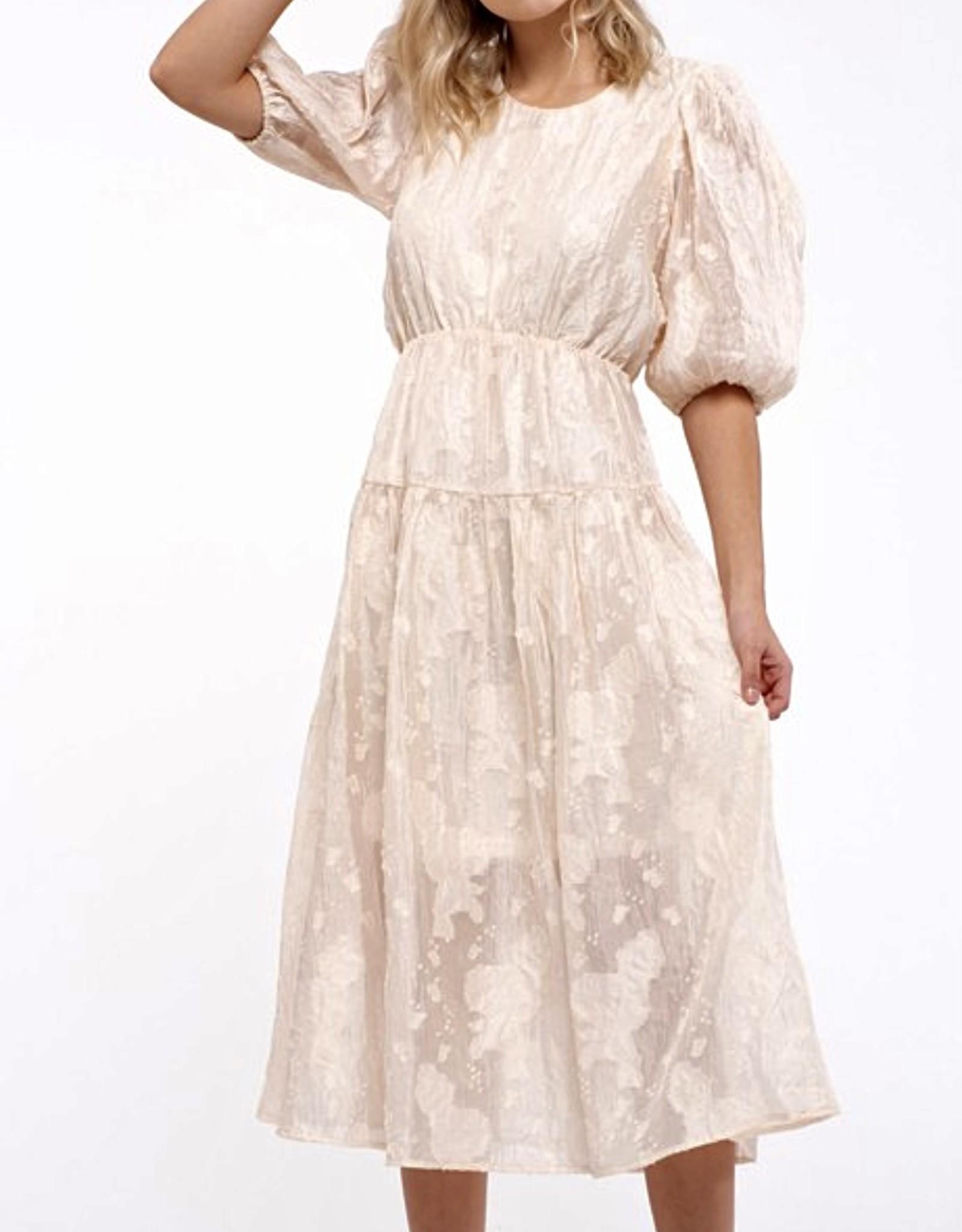HUSH Textured fabric 3/4 sleeve midi dress