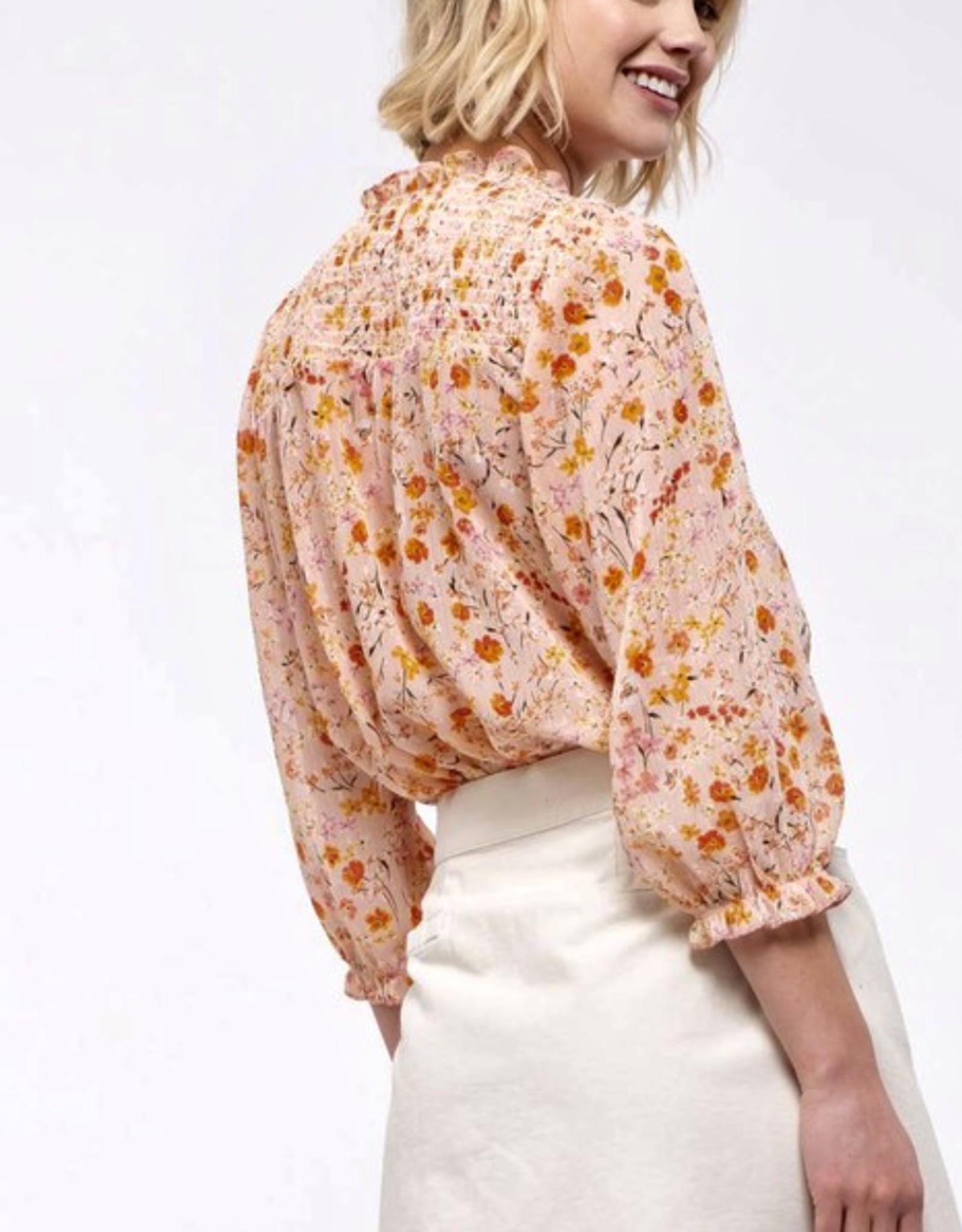 HUSH 3/4 sleeve smocked yoke floral prnt blouse