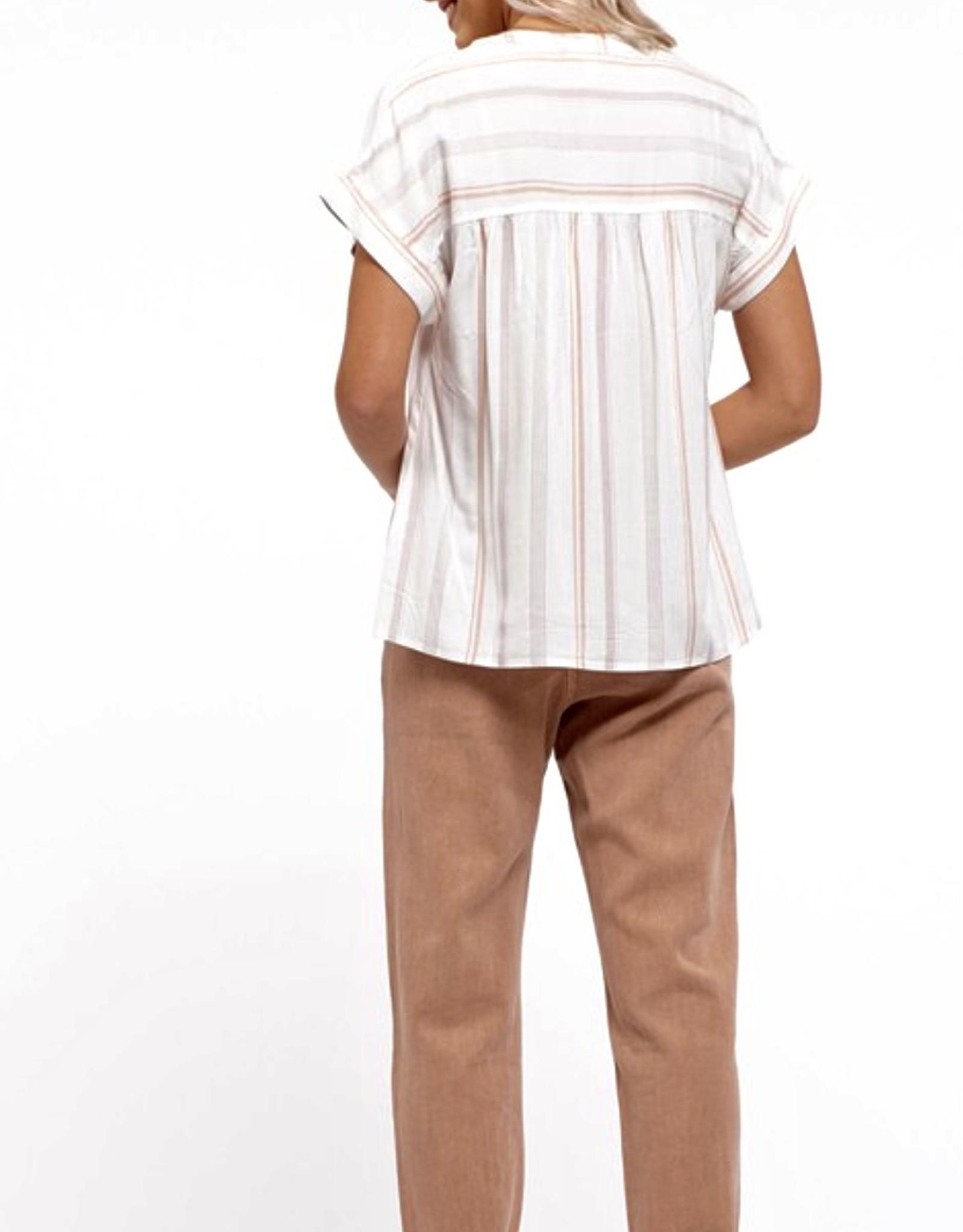 HUSH Stripe print kimono sleeve s/s blouse