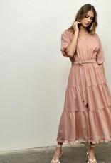 HUSH 3/4 length sleeve tiered style midi dress