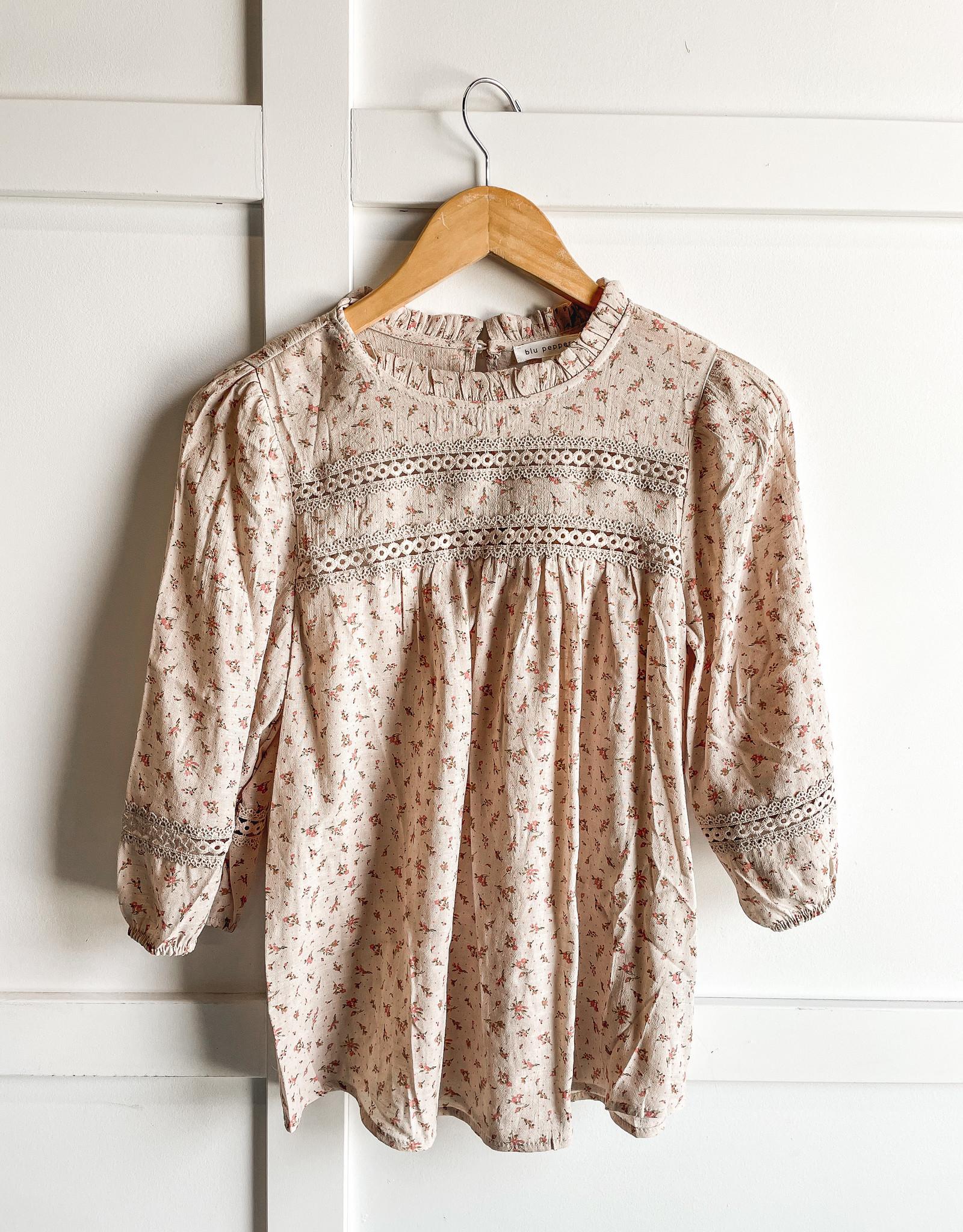 HUSH 3/4 sleeve floral print mock neck blouse