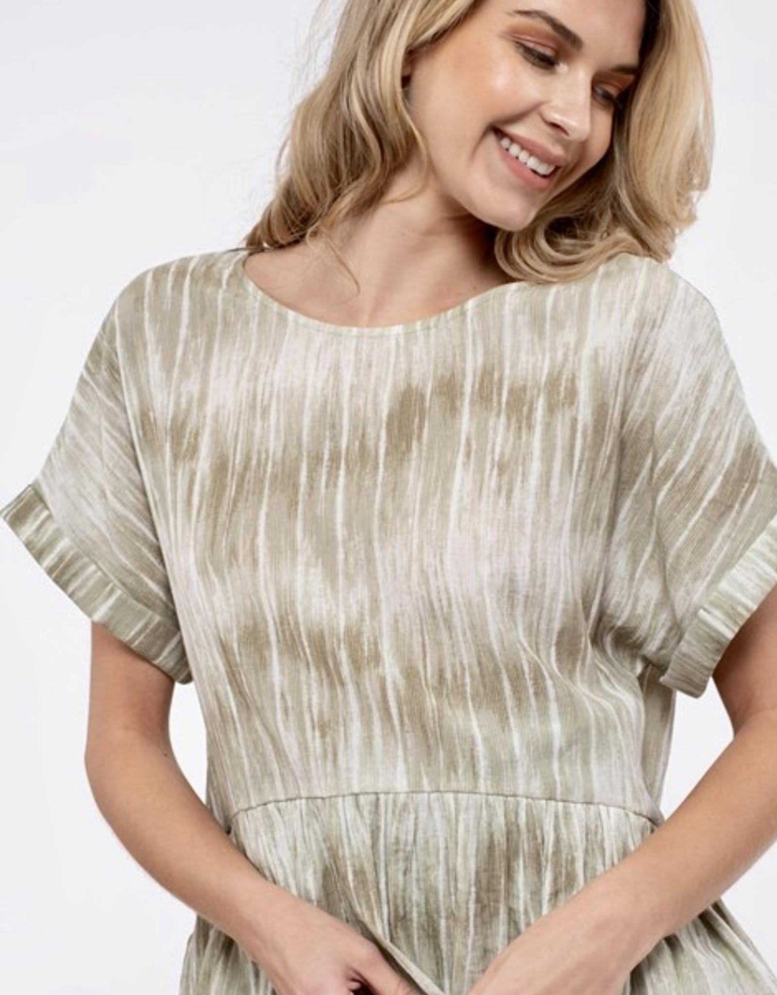 HUSH Printed peplum short sleeve blouse