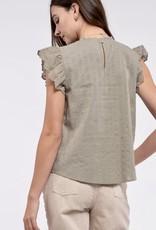 HUSH Mock neck eyelet & lace flutter slv blouse