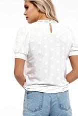 HUSH Polka dot lace trim s/s top
