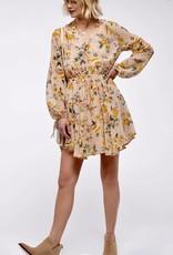 HUSH Long sleeve floral print swing dress