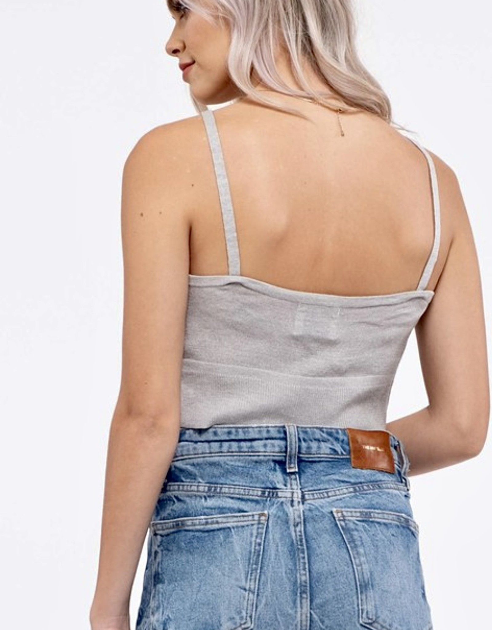 HUSH Knit cropped lace front tank
