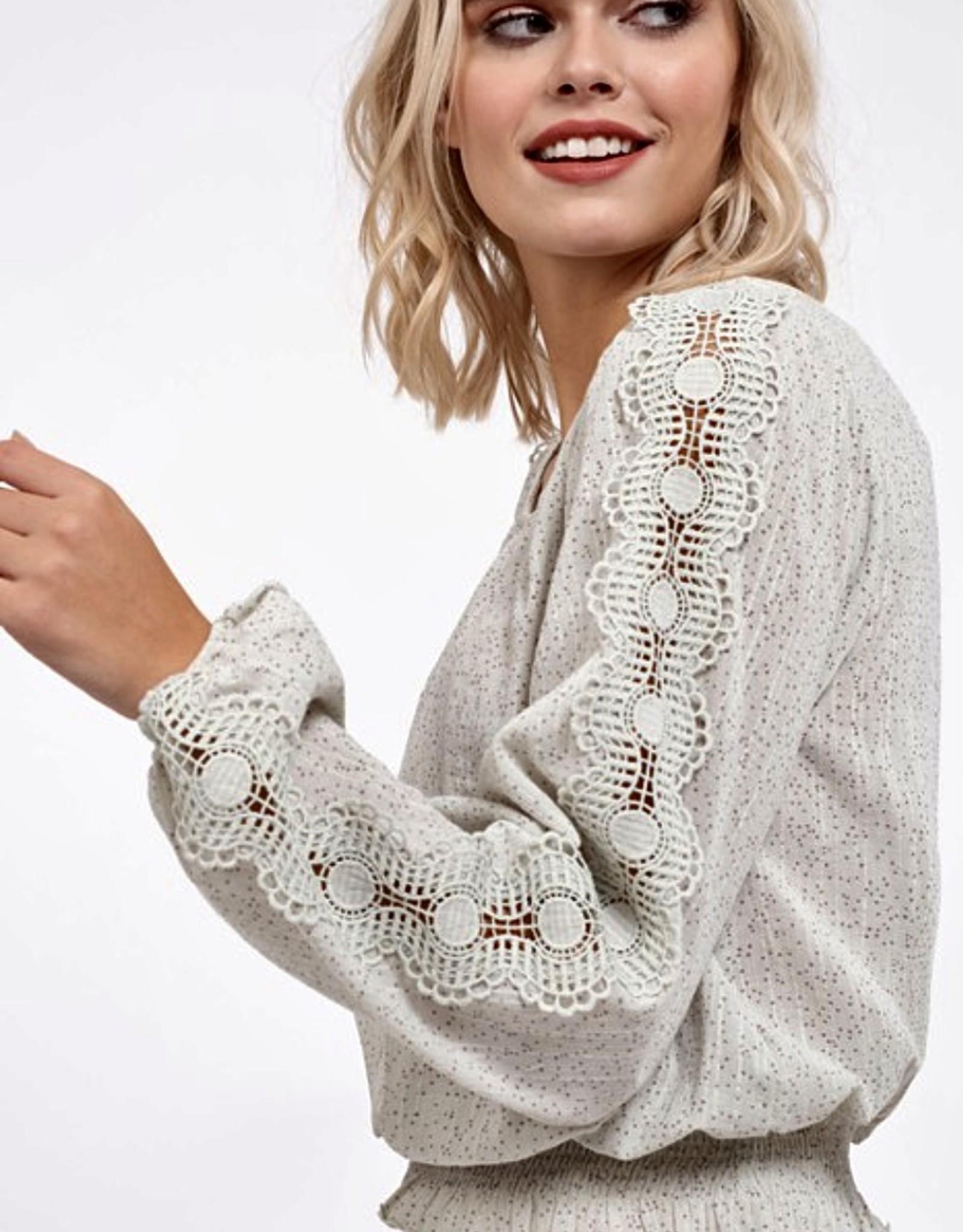 HUSH Dot print lace trim sleeve blouse