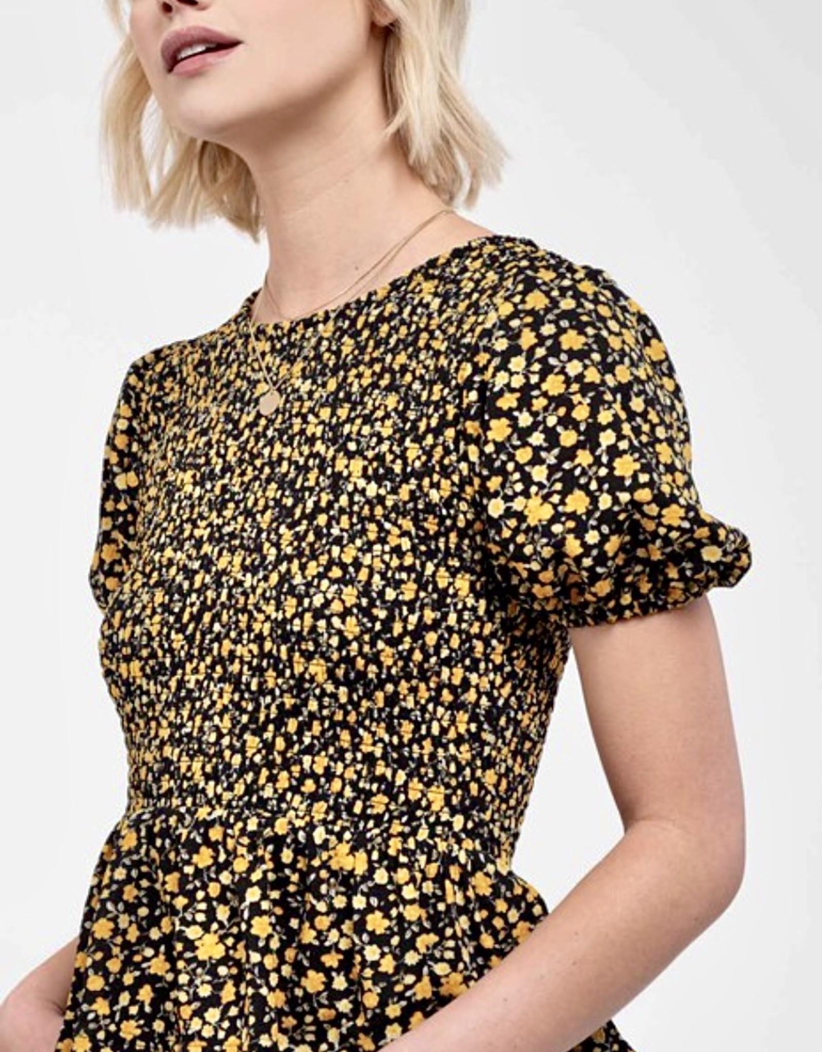 HUSH Woven smocked ditsy floral peplum blouse