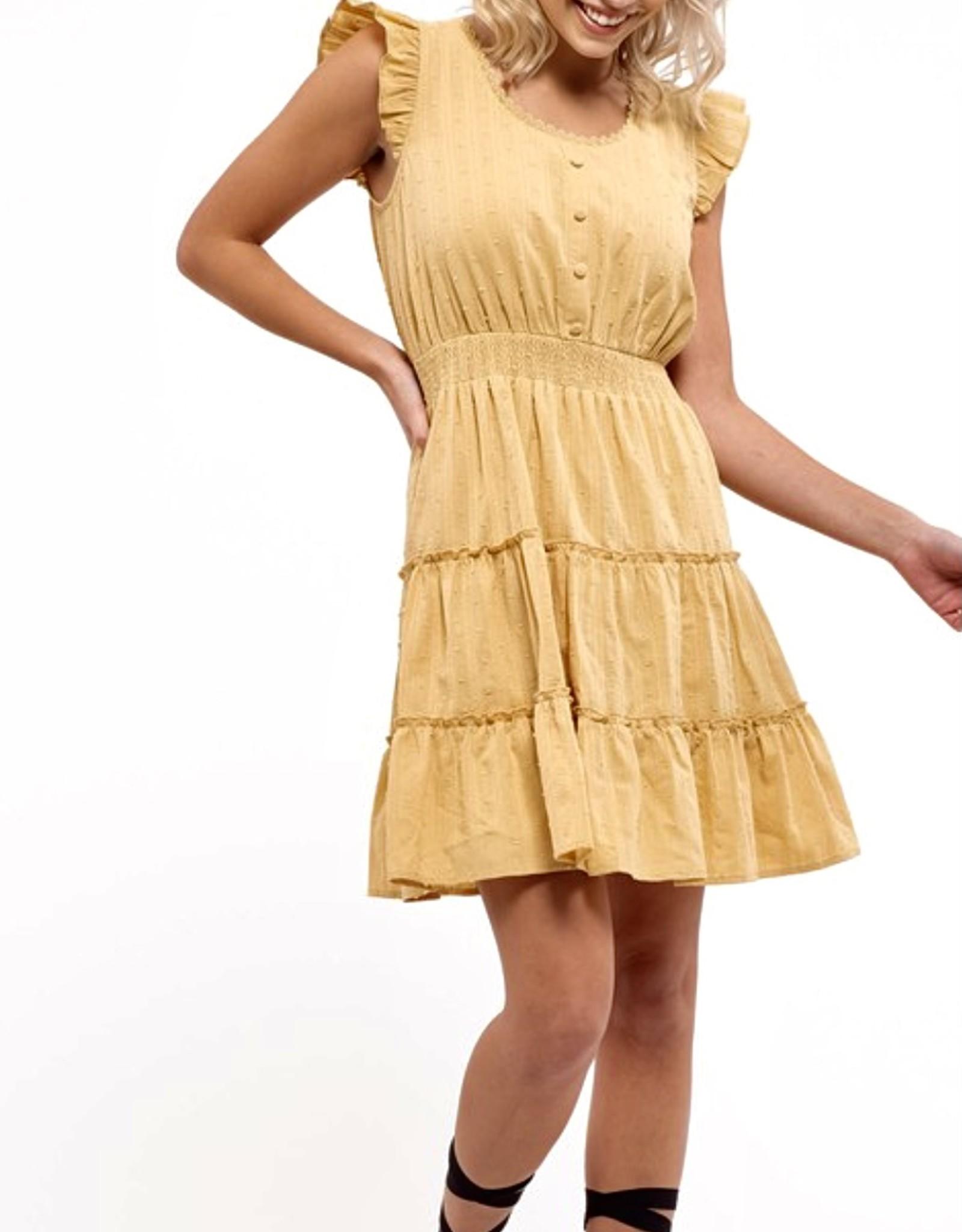 HUSH Tiered dress w/ flutter sleeves