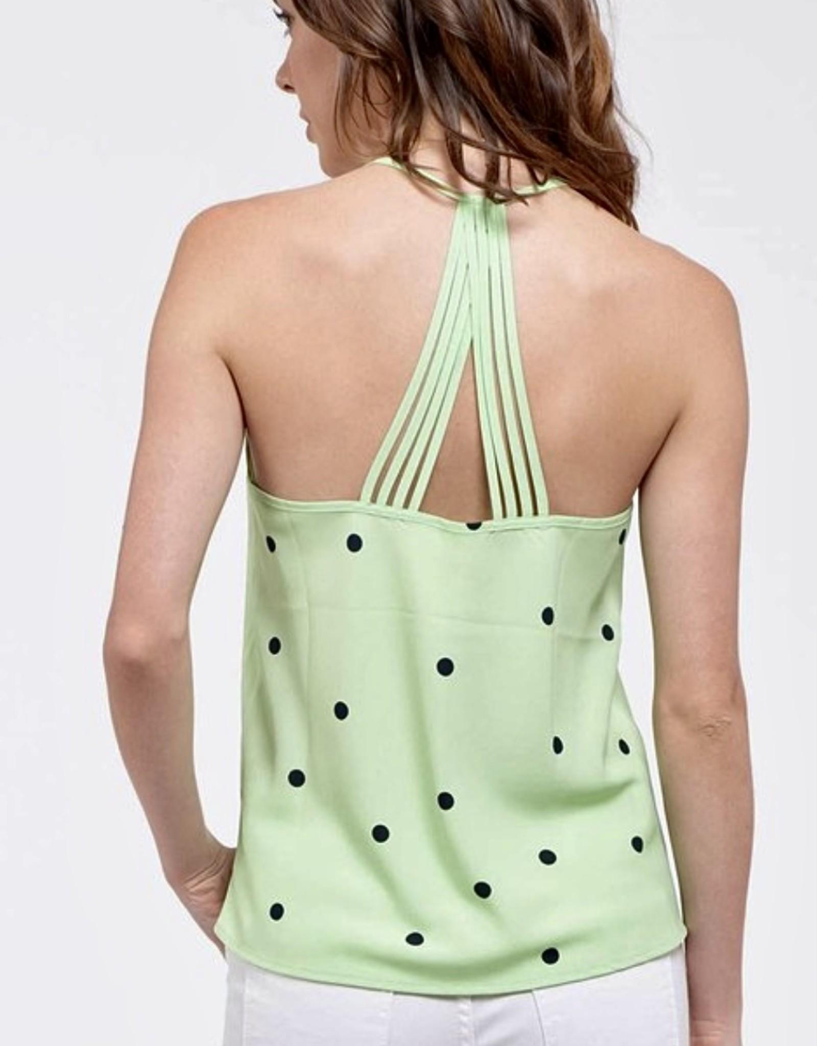 HUSH Criss cross back dot print woven tank
