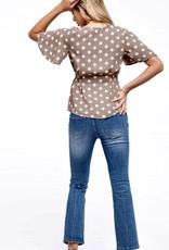 HUSH Polka dot short sleeve button down blouse