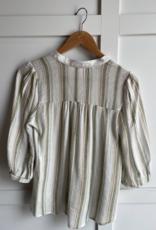 HUSH 3/4 sleeve stripe print front split blouse