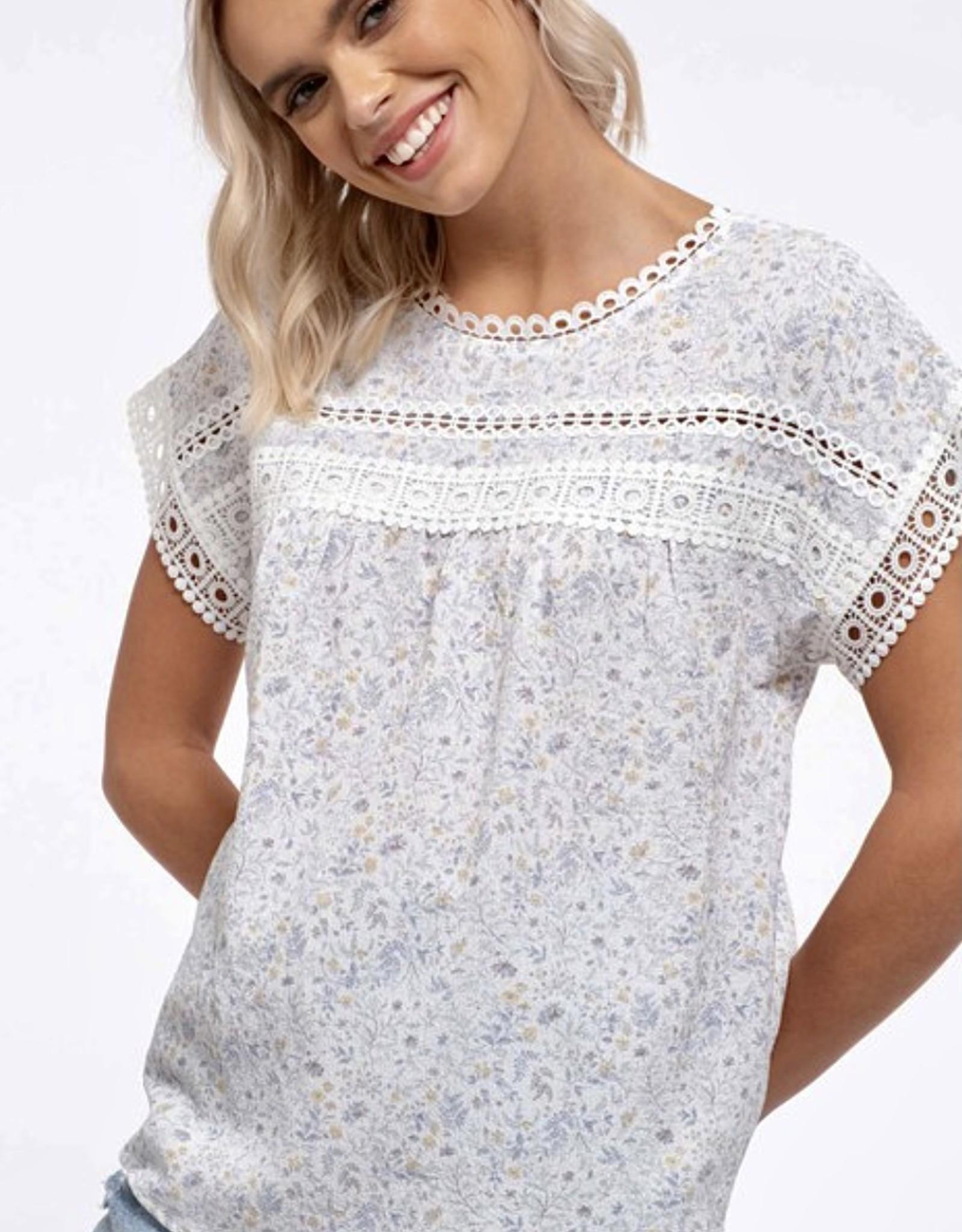 HUSH Floral print, lace trim s/s blouse