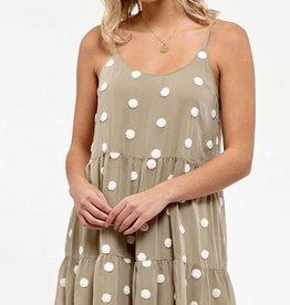 HUSH Polka dot tiered cami midi length dress