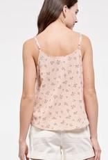 HUSH Floral print lace trim button tank