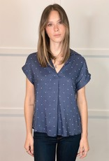 HUSH WYNN denim blouse