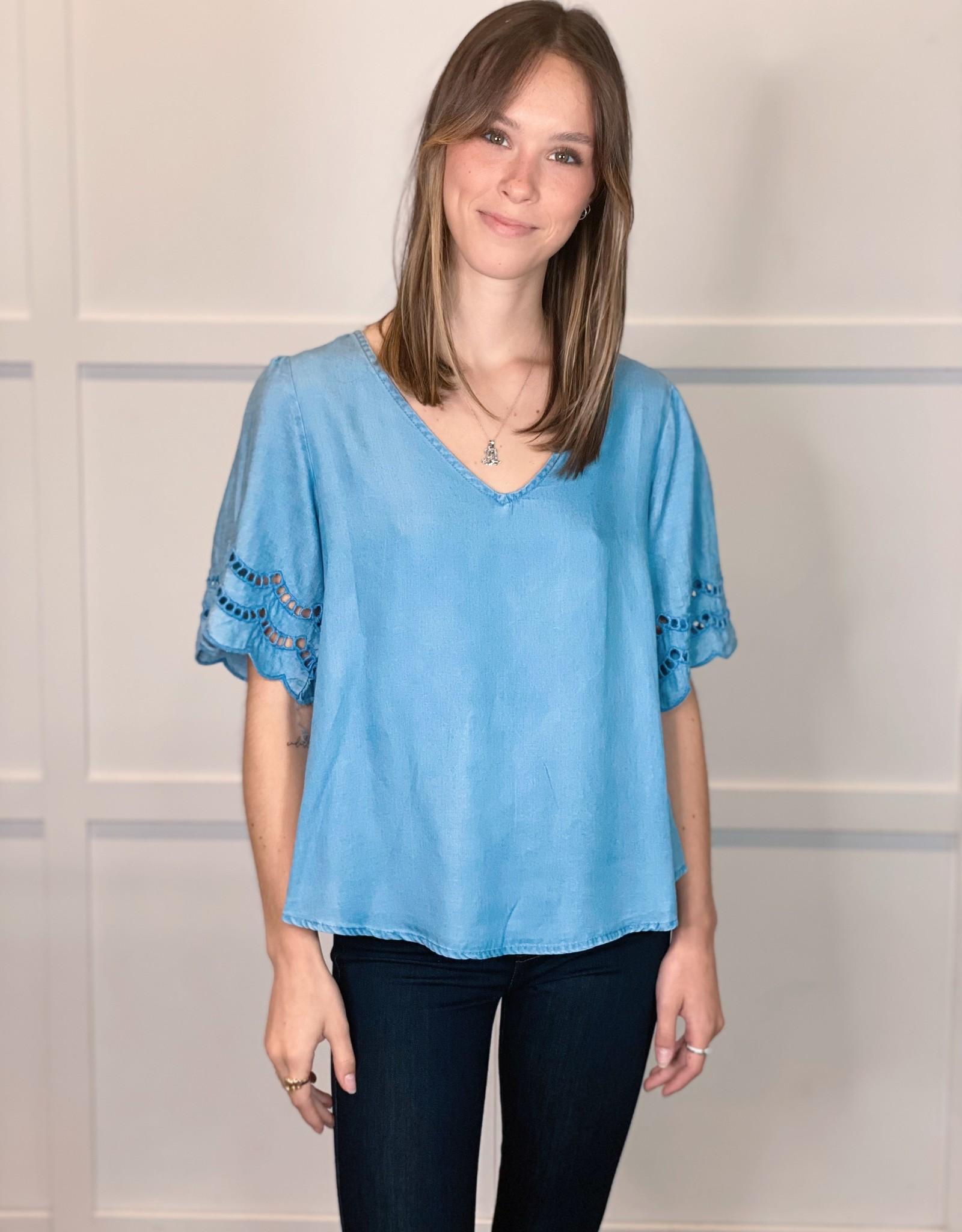 HUSH WEDNESDAY chambray blouse