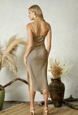 HUSH WHISPER satin midi dress