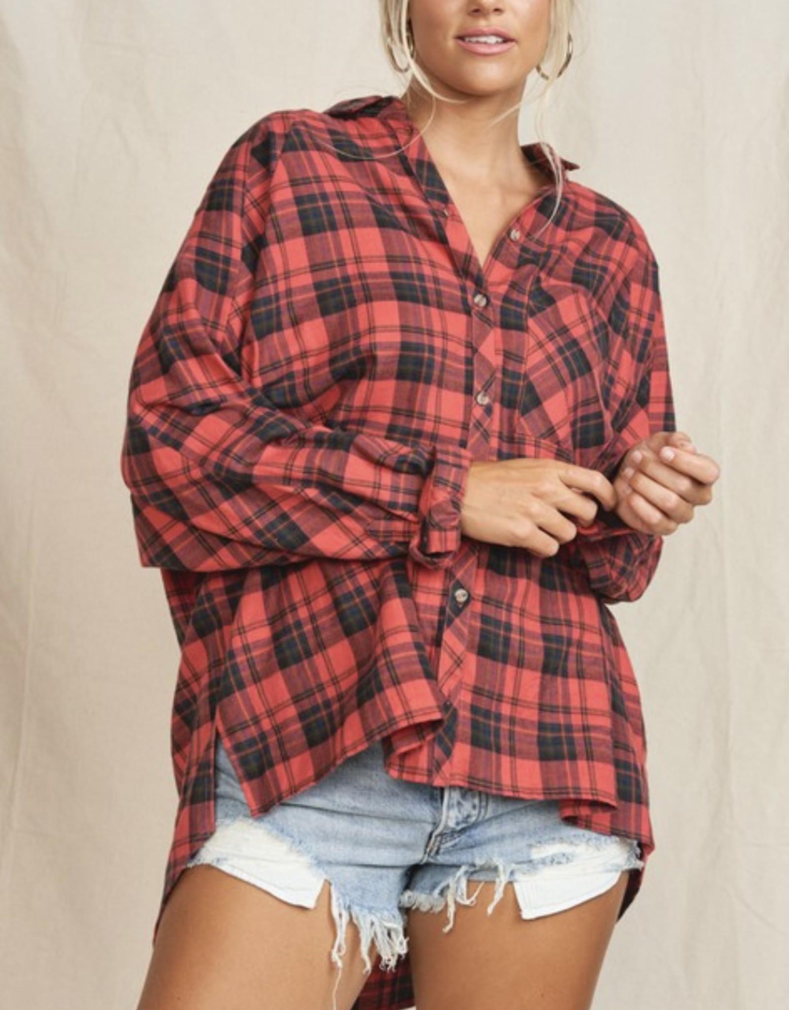 HUSH BETTY oversized plaid shirt