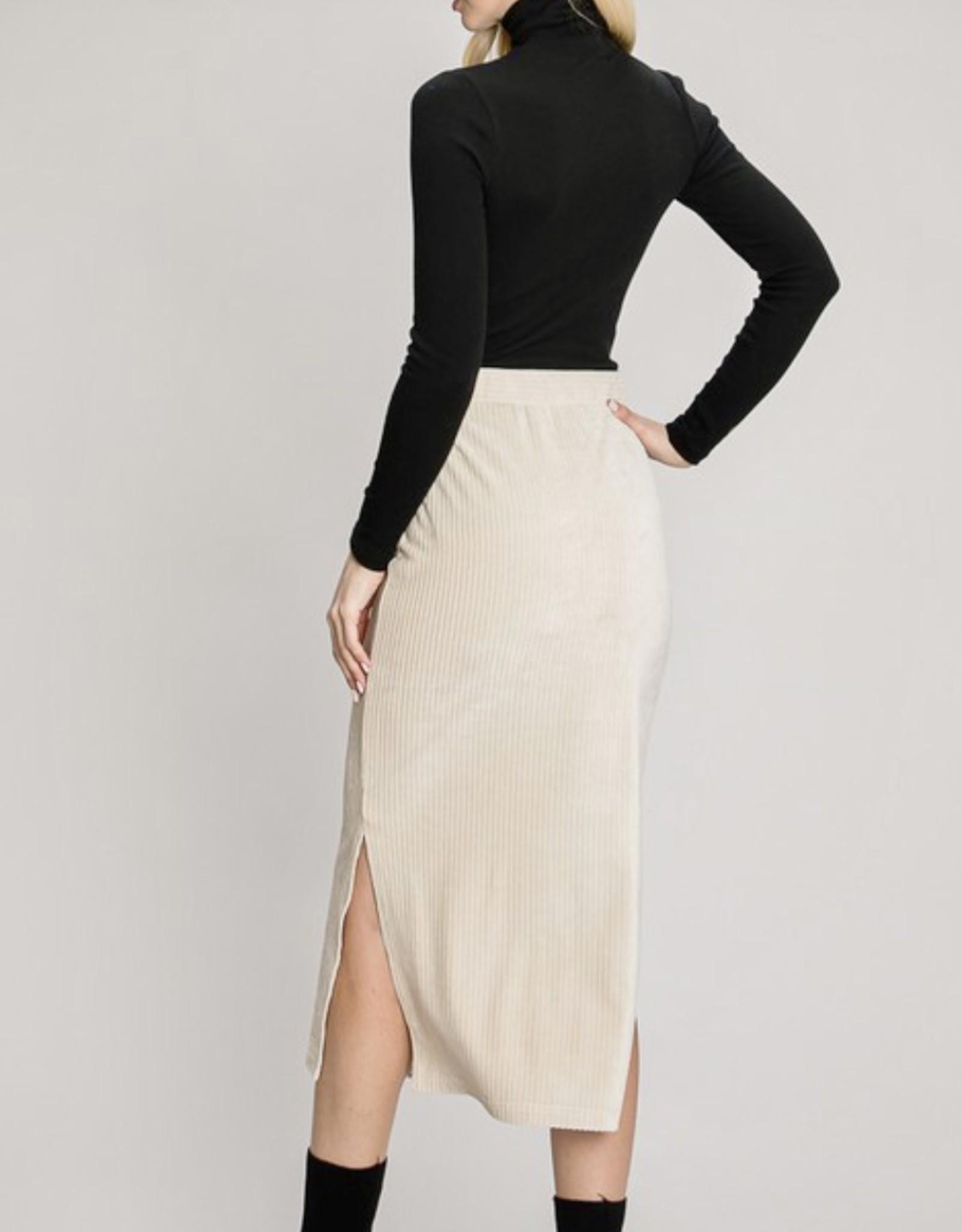 HUSH BRENDA velour midi skirt