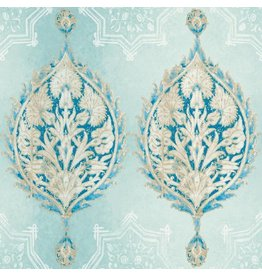 Patina Vie Henna Palm Ogee Wallpaper - Sky Blue