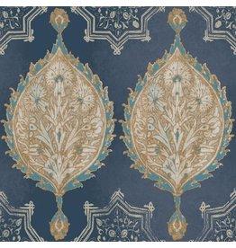 Patina Vie Henna Palm Ogee Wallpaper - Navy