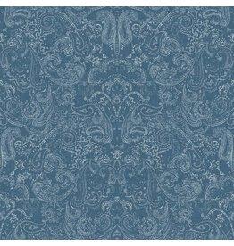 Patina Vie Distressed Paisley Wallpaper - White on Dark Blue