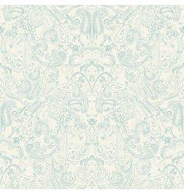 Patina Vie Distressed Paisley Wallpaper - Aqua/White