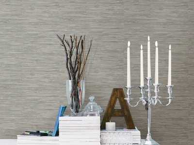 Tibetan Grasscloth Grey Natural Peel & Stick Wallpaper