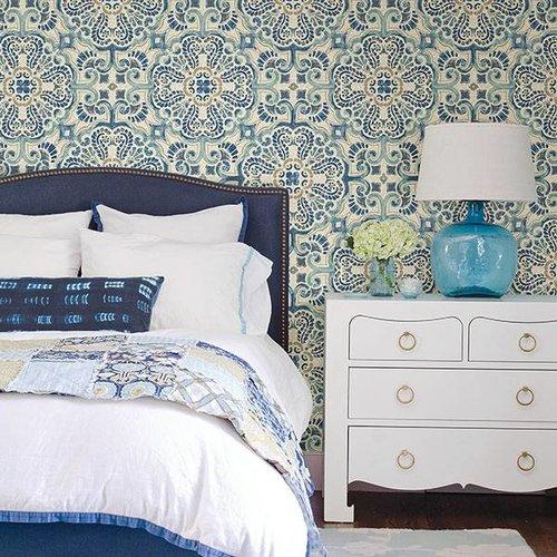 Blue Florentine Tile Peel & Stick Wallpaper