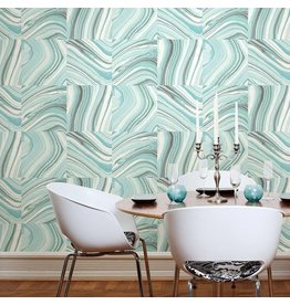 Metamorphis Turquoise Agate Peel & Stick Wallpaper