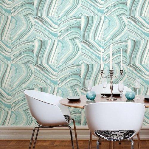 Metamorphis Turquoise Agate Peel & Stick Wallpaper