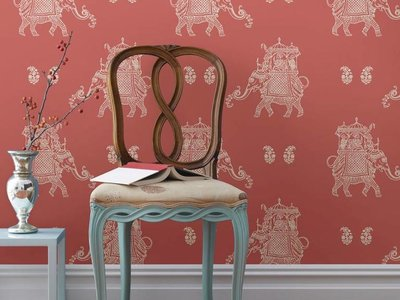 Caravan Coral Elephant Peel & Stick Wallpaper