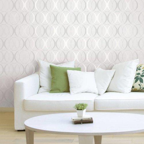 Circulate Light Silver Peel & Stick Wallpaper