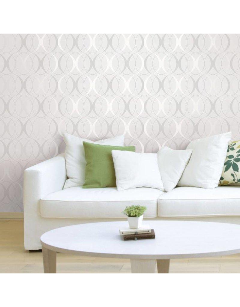 Circulate Light Silver Peel Stick Wallpaper