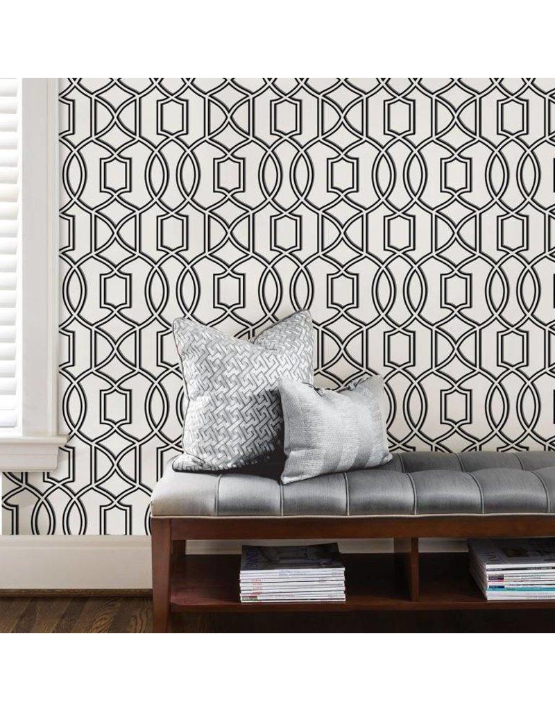 Uptown Trellis Black White Peel Stick Wallpaper