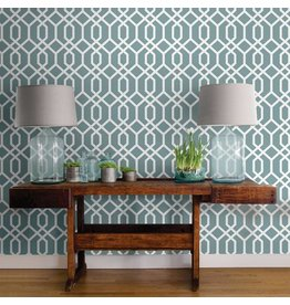 Montauk Lattice Hemlock Blue Peel & Stick Wallpaper
