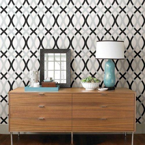 Black and Silver Lattice Peel & Stick Wallpaper