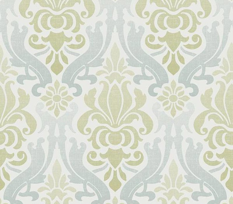 Blue and Green Nouveau Damask Peel & Stick Wallpaper