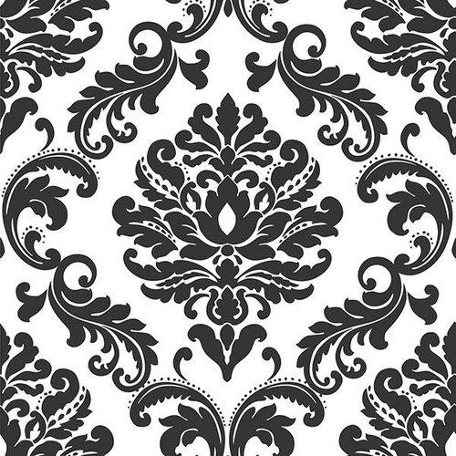 Ariel Black and White Damask Peel & Stick Wallpaper